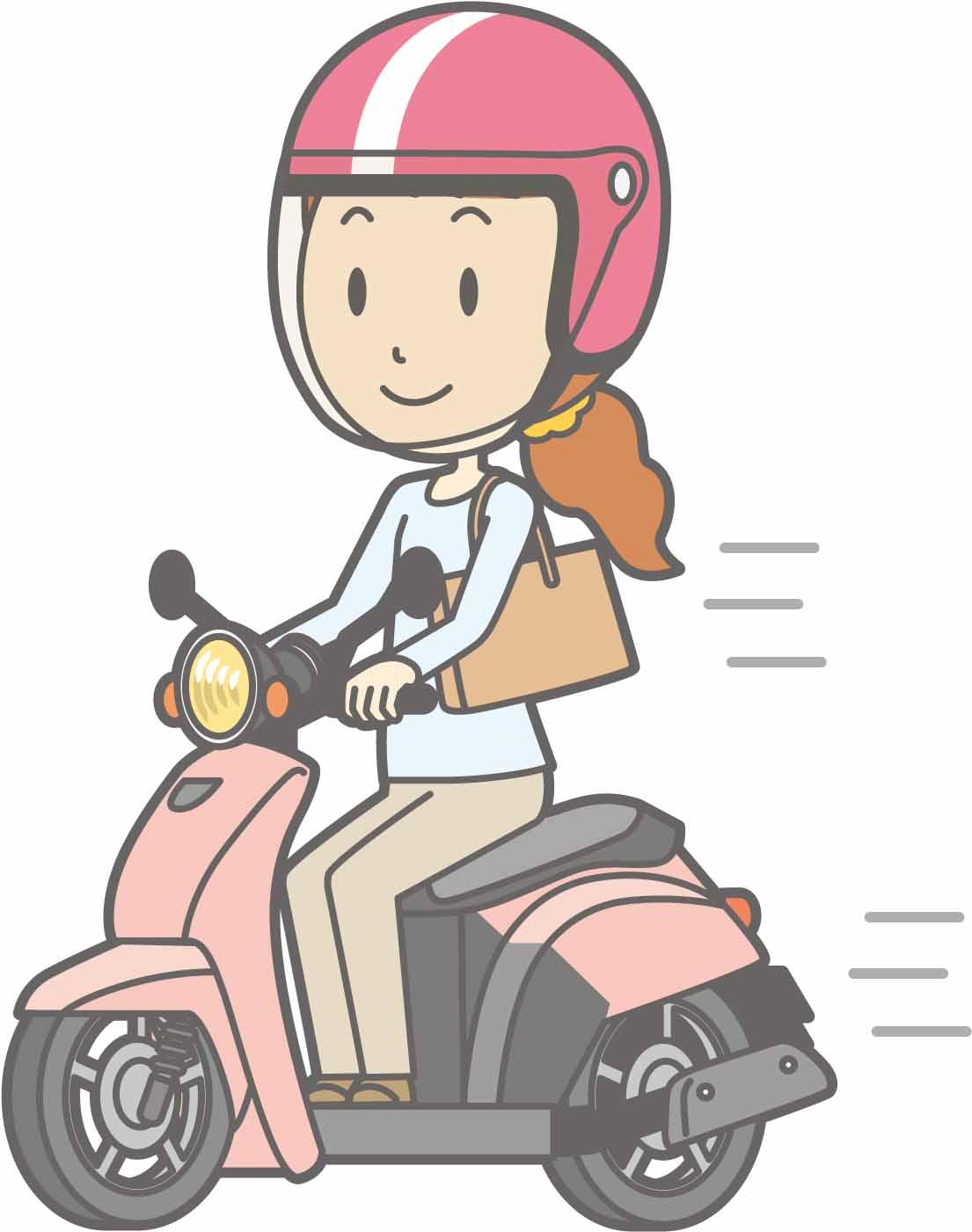 原付スクーターに乗る女性のイラスト