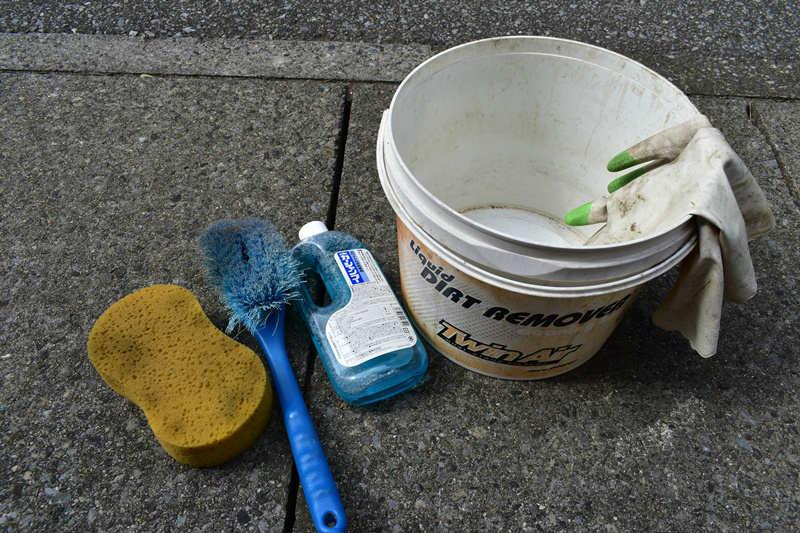 原付ミニバイクの洗車で用意した道具